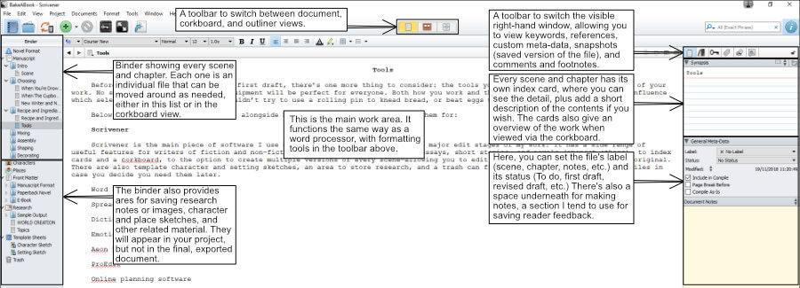 Drafting in Scrivener